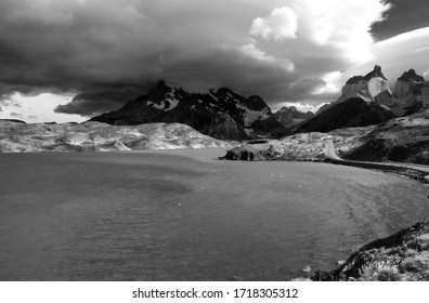 Black and withe picture of  Pehoe Lake during  a storm in Torres del Paine national park, Patagonia, Chile.