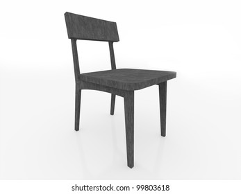Black woden chair isolated