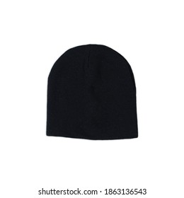 black woll beanie, winter beanie hat. beanie hat isolate white background. Blank Beanie Hat Mockup with Free Space for Your Design on a white background.