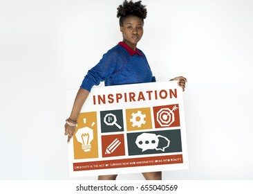 Black woman holding a creative icon collage banner