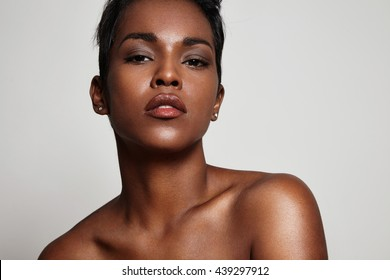 black woman with ideal skin in a studio shoot