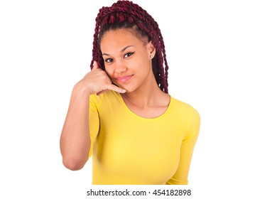 black woman, listening, viewing the gesture of hand behind the ear, isolated on white background