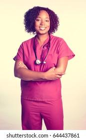 Black woman nurse with stethoscope