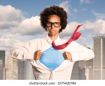 black woman opening her shirt like a superhero