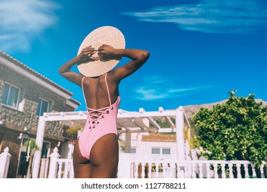 Black woman relaxed in holidays