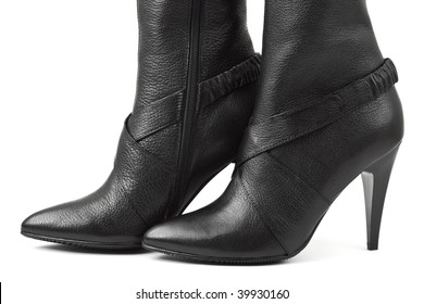 Black woman shoes isolated on white background