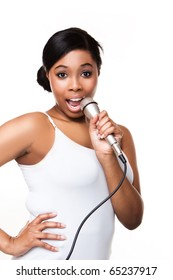 Black Woman Singing on white