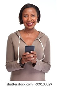 Black woman with smartphone.