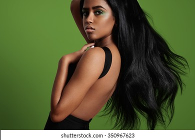 black woman with a straight blowing hair