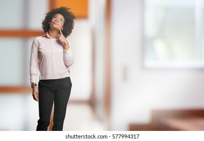 black woman thinking full body