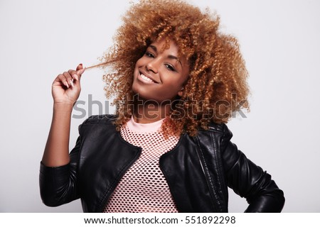 Black Woman Touches Her Blonde Curly Stock Photo Edit Now