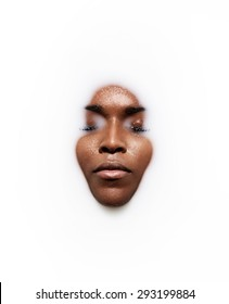 black woman's face in a milk.