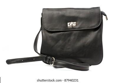 Black women messenger bag isolated over white