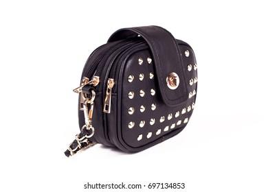 Black Women's handbag, Ladies bag, Black female clutch,Black clutch.Women's bag isolated white background.Bag isolated white background.Clutch isolated white background.