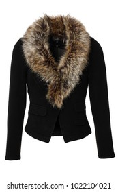 Black women's jacket with fake fur collar, photographed on ghost mannequin isolated on white background.