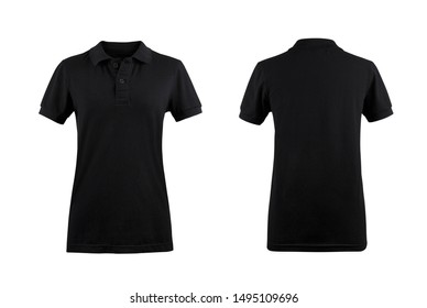 Black women's Polo shirt front and back on white background.