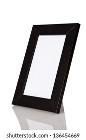 Black wood frame with reflexion isolated on white background