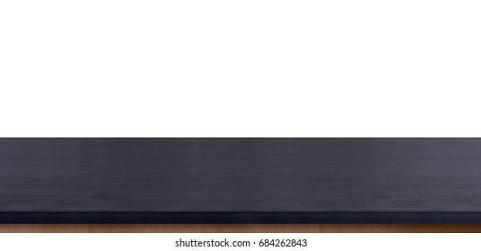 Black wood table top banner size isolated on white background,Leave space for replace your background,Mock up for display or montage of product