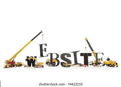 "Black wooden alphabetic letters set showing ""WEBSITE"" being set up by group of construction machines and workers symbolizing ""Website under construction""."