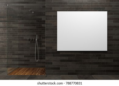 Black wooden bathroom interior with a glass wall shower stall in the corner. A horizontal poster on the wall. 3d rendering mock up