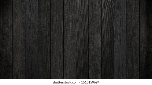 Black wooden boards texture for background.