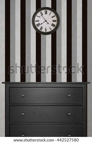 Black Wooden Cabinet And Clock In Empty Room With White Wallpaper Vintage Style