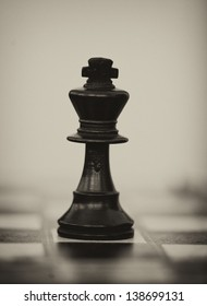 Black wooden chess king