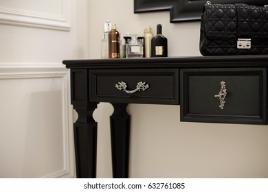 Black wooden console, table in classic style