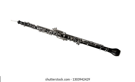 Black wooden oboe isolated on a white background. Music instruments series