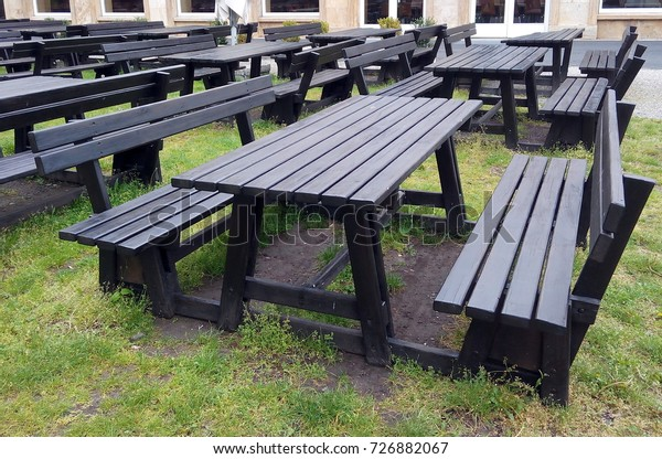 Phenomenal Black Wooden Picnic Tables Empty Outdoor Stock Photo Edit Gamerscity Chair Design For Home Gamerscityorg