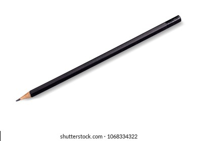 Black wooden sharpened pencil on white background. Isolated.