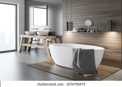 Black and wooden wall bathroom corner with a tub and a make up shelf. A double sink near a gray wall. Concept of a modern house design. 3d rendering