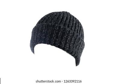 7bc61ecdbf5cd Black Wool Beanie. Beanie hat vector template