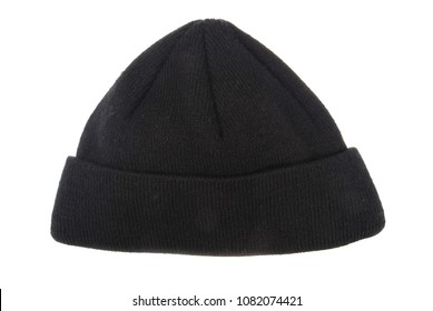 Black woolen hat isolated on white background.
