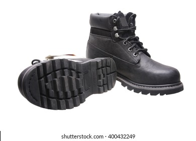 Black work boots on white background with Clipping Path