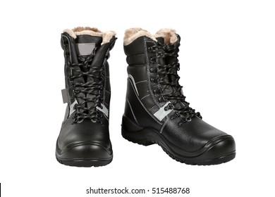 Black working boots