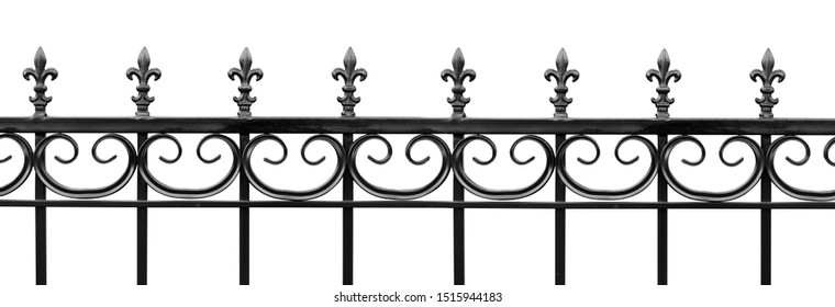 Black wrought iron front garden. Metal fence made of forged steel. Close up. Isolated on white background.