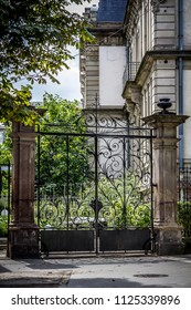 black wrought iron gate in the Alsatian capital