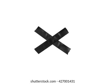 Black X sign from plastic tape on the white background.
