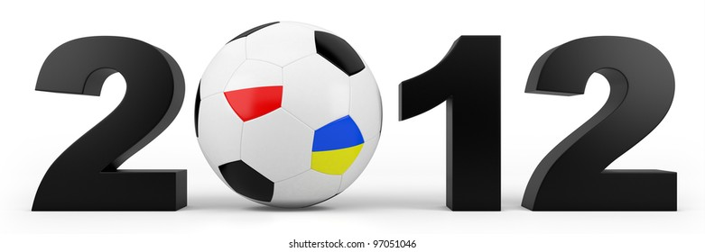 black year 2012 numbers and soccer ball with polish and ukrainian flag - high quality 3d illustration