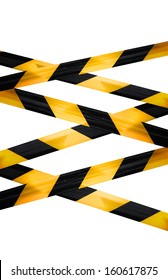 Black and yellow caution striped tapes isolated on white background