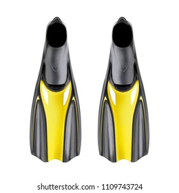 Black and Yellow Flippers Isolated on White Background. Front View of Swim Fins. A Couple of Modern Swimfins. Scuba Gear. Diving Equipment