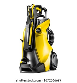 Black Yellow Pressure Washer Isolated on White. Electric High Power Washing Machine. Pressurized Water Jet. Outdoor Power Equipment. House Cleaning Tool. Domestic Major Appliances. Home Appliance
