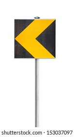 Black and yellow turn road sign isolated on white background