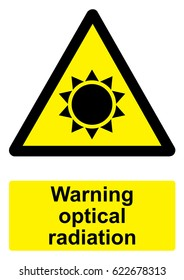 Black and Yellow Warning Sign isolated on a white background -  Optical radiation