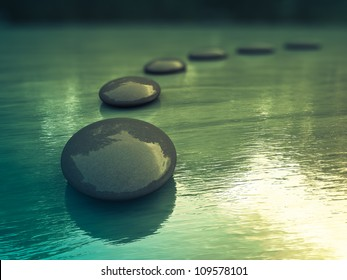 Black zen stones  on a sea