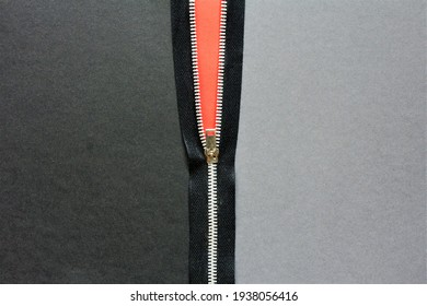 black zipper with gray background