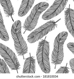 black-and-white Feather seamless background.  Many similarities to the author's profile