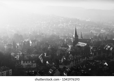 Black-and-white recording of the town of Wernigerode