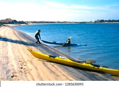 Blackbeard Island, Georgia, USA, Kayaking Blackbeard Creek, pulling out on the island, March 15, 1997